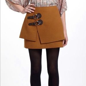 Anthro Meadow Rue Camel Buckle Mini Skirt